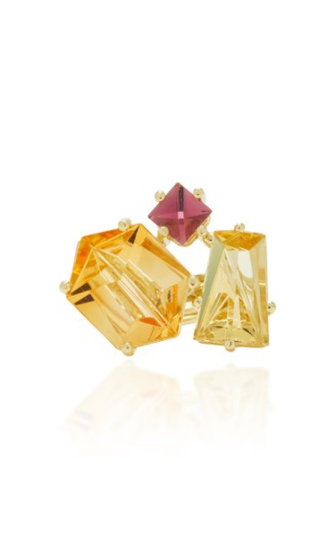One-Of-A-Kind 18K Gold, Citrine and Beryl Ring