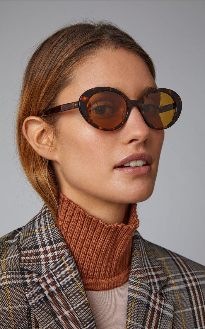 Parquet Oval-Frame Acetate Sunglasses