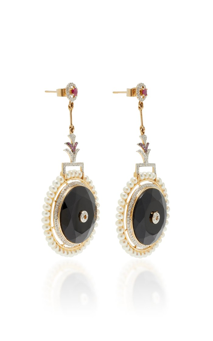 Circle Of Life 18K White Gold And Multi-Stone Drop Earrings