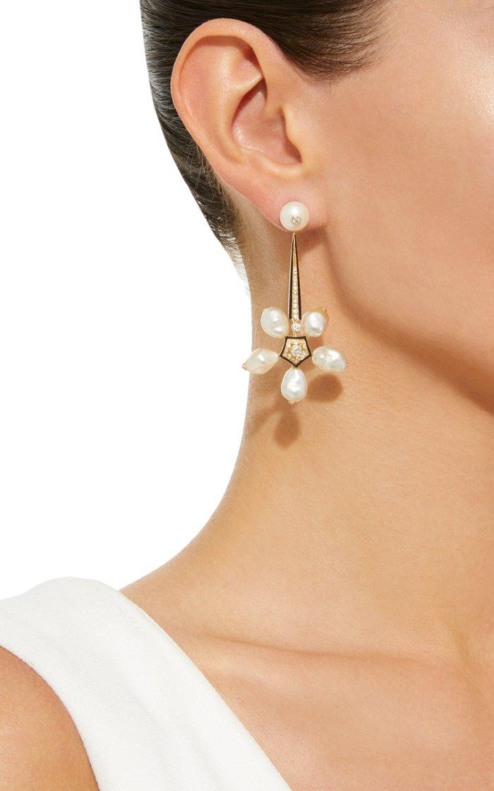 18K Yellow Gold, Pearl, Diamond And Enamel Deco Drop Earrings
