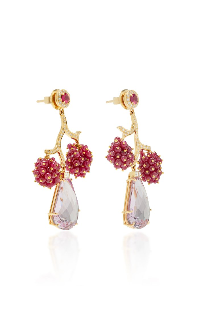 Tree Of Life 18K Yellow Gold, Diamond, Ruby And Quartz Drop Earrings