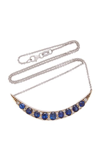 Silver, Sapphire And Diamond Necklace