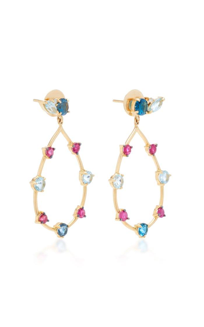 18K Gold Multi-Stone Earrings