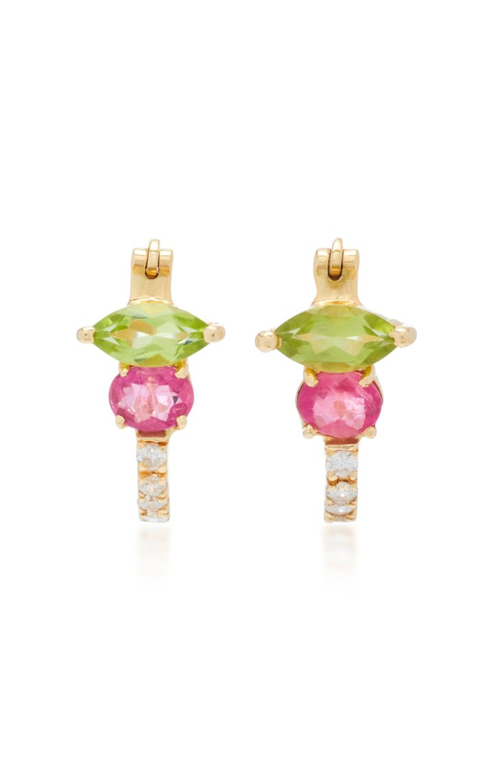 18K Gold, Peridot, Rubellite And Diamond Earrings