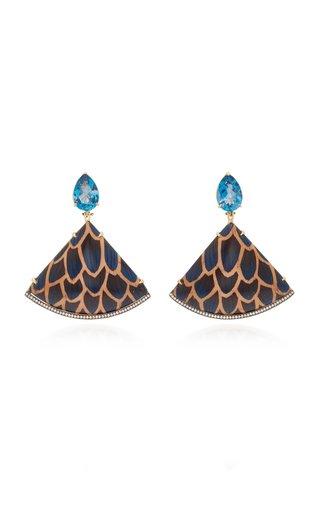 18K Gold, Enamel Blue Topaz And Diamond Earrings
