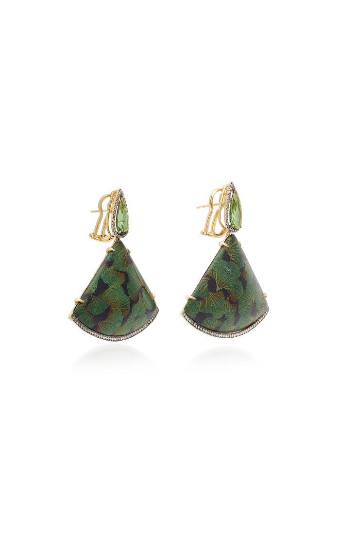 18K Gold, Green Tourmaline And Diamond Earrings