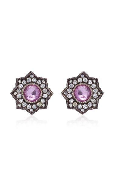 Louiza 22K Oxidized Pink Sapphire Earrings