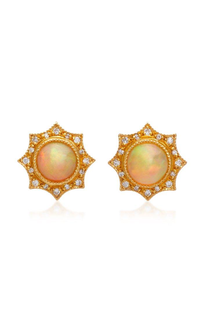 22K Gold, Opal And Diamond Stud Earrings