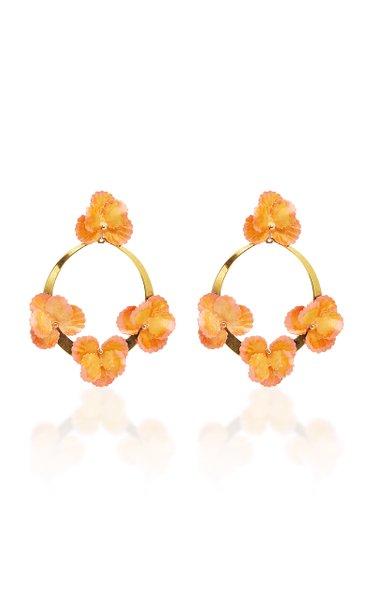 Voleta Floral Plated Hoop Earrings
