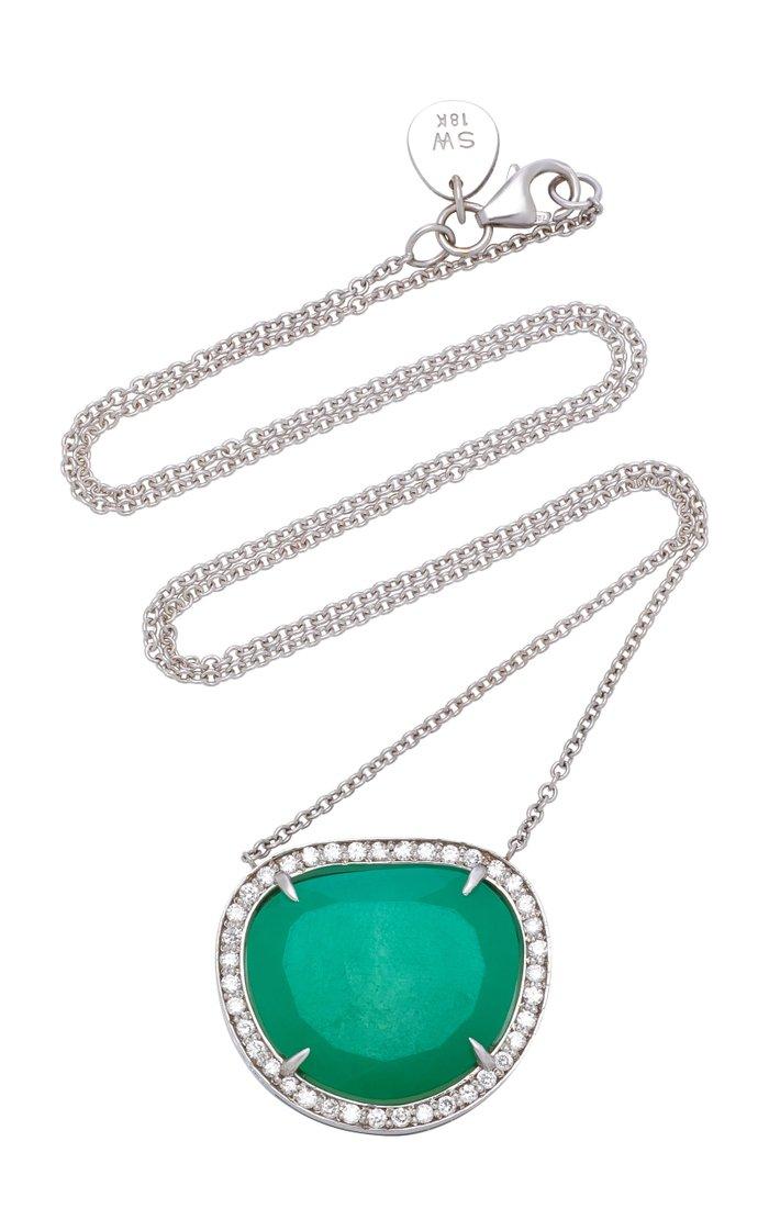 18K White Gold, Chrysoprase And Diamond Necklace