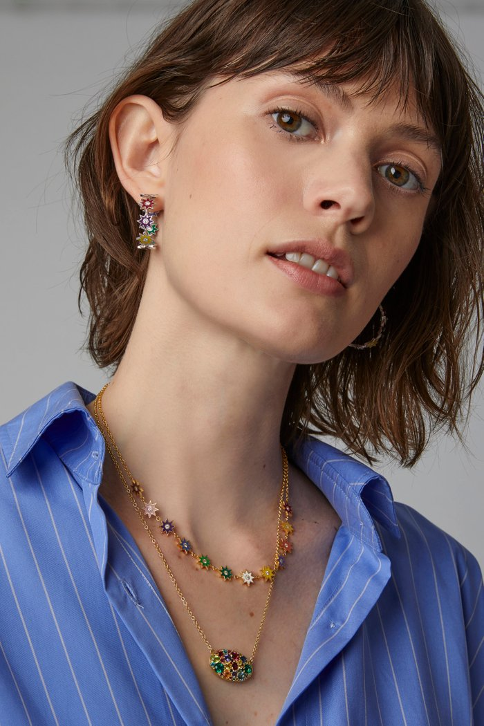 Twinkle Star 18K Gold, Enamel and Diamond Necklace