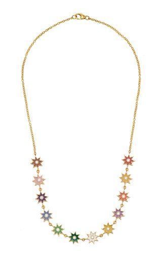 Twinkle Star 18K Gold, Enamel and Diamond Necklace