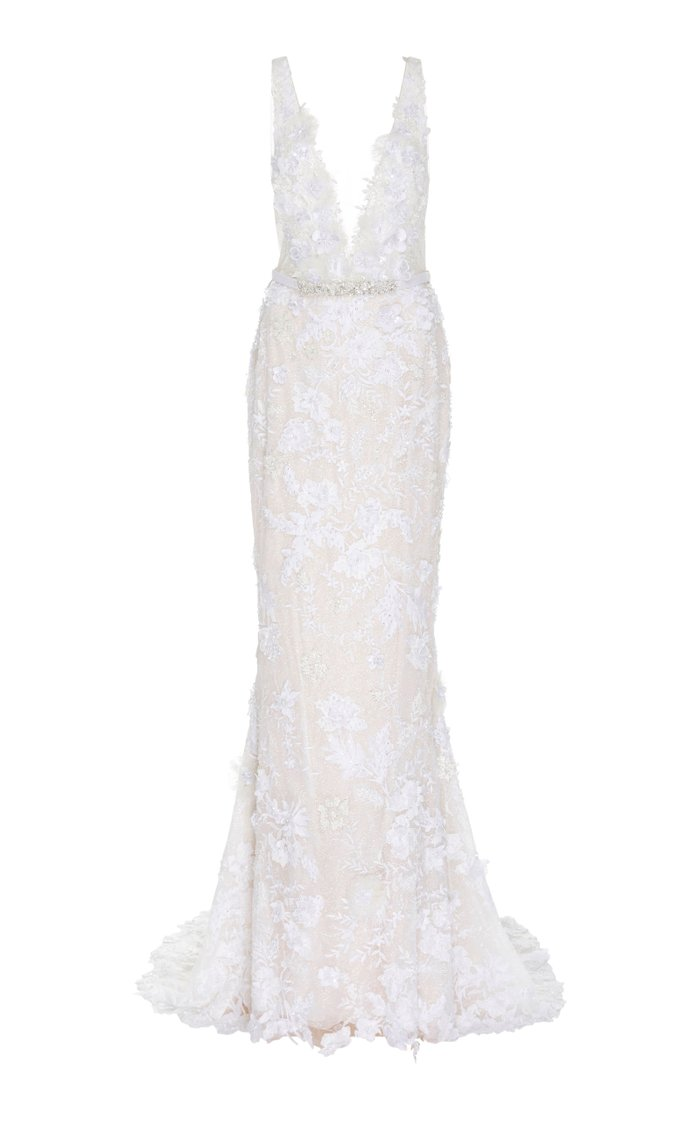 Dara Open-Back Chantilly Lace Sheath Gown