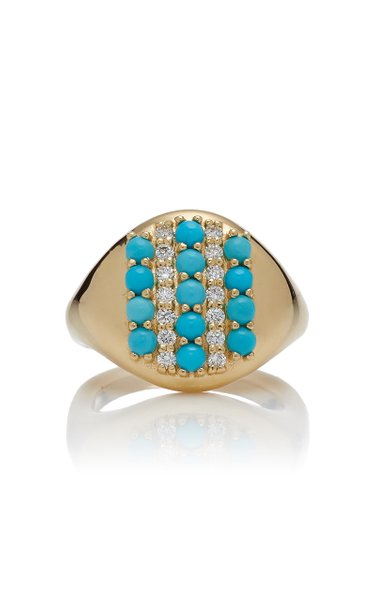 18K Gold, Turquoise, And Diamond Ring