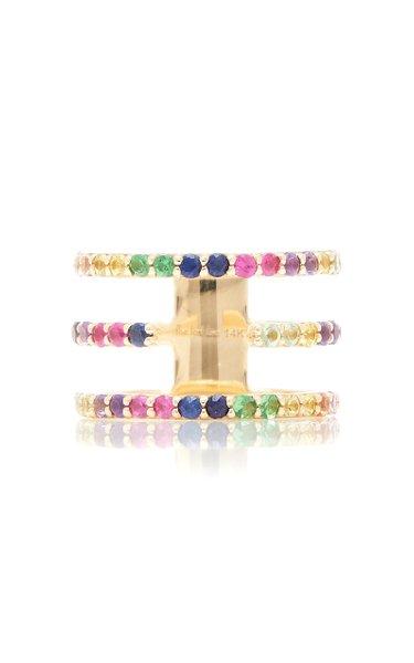 14K Yellow Gold Split-Band Rainbow Ring