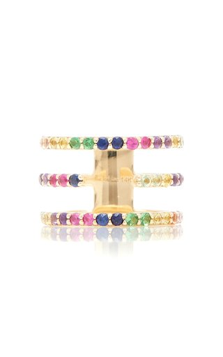 14K Yellow Gold Split-Band Rainbow Ring