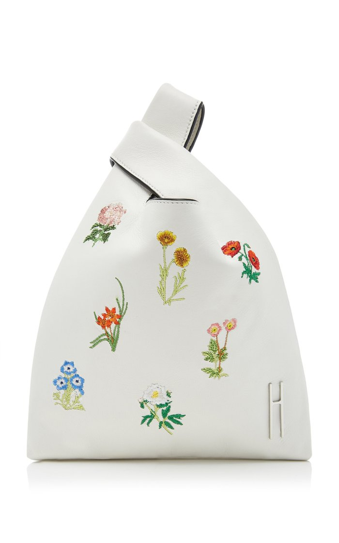 Mini Floral-Embroidered Leather Shopper