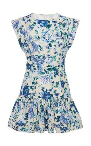 Moncur Flounce Linen Mini Dress