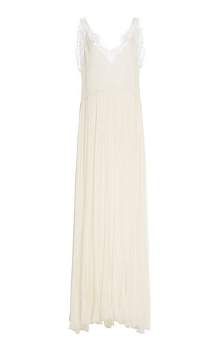 Embroidered Chiffon Layered Lace Gown