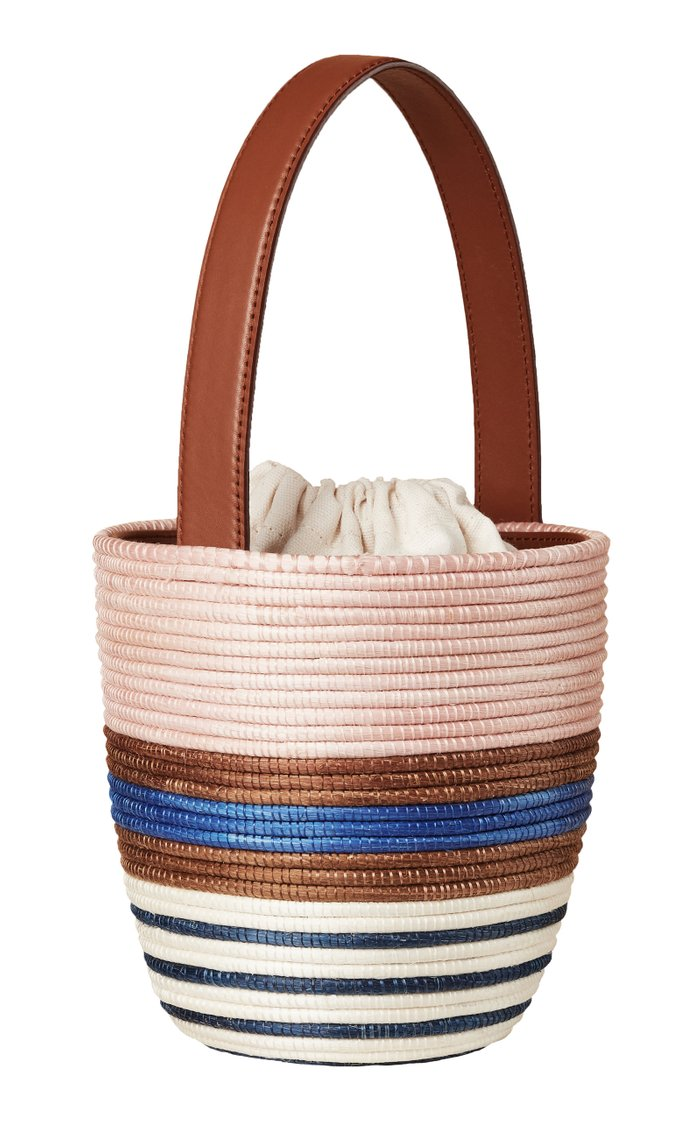 Lunchpail Leather-Trimmed Striped Sisal Bucket Bag