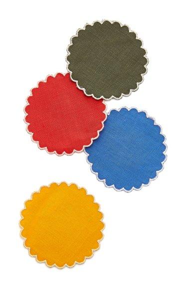 Set-Of-Four Linen Sun Coasters