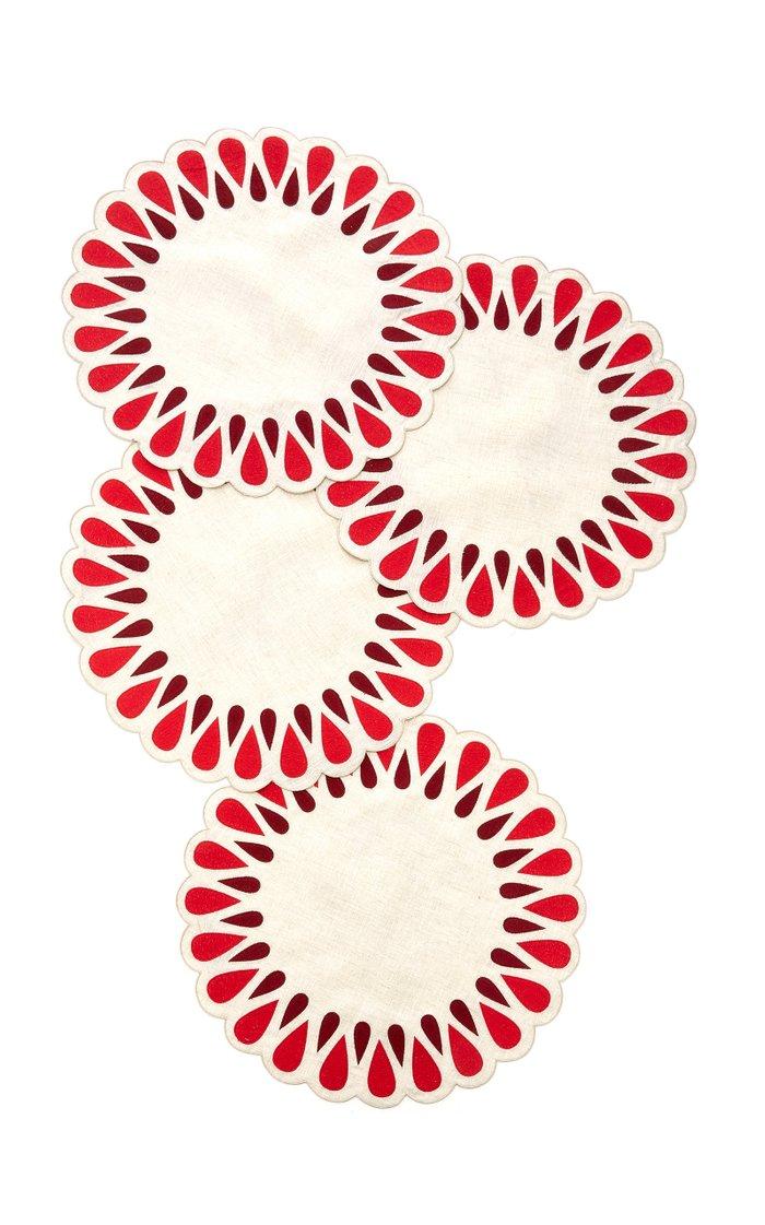 Set-Of-Four Drops Linen Placemats