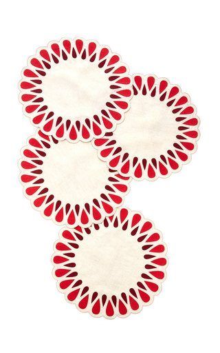 Set-Of-Four Drops Linen Placemats