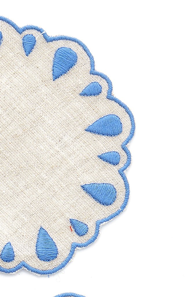 Set-Of-Four Embroidered Linen Coasters