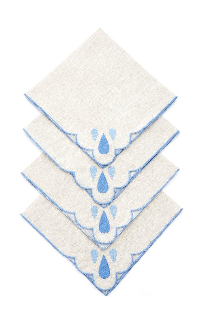 Set-Of-Four Embroidered Linen Dinner Napkins