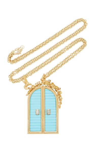 """Turquoise Archway Pendant 32"""" Necklace"""