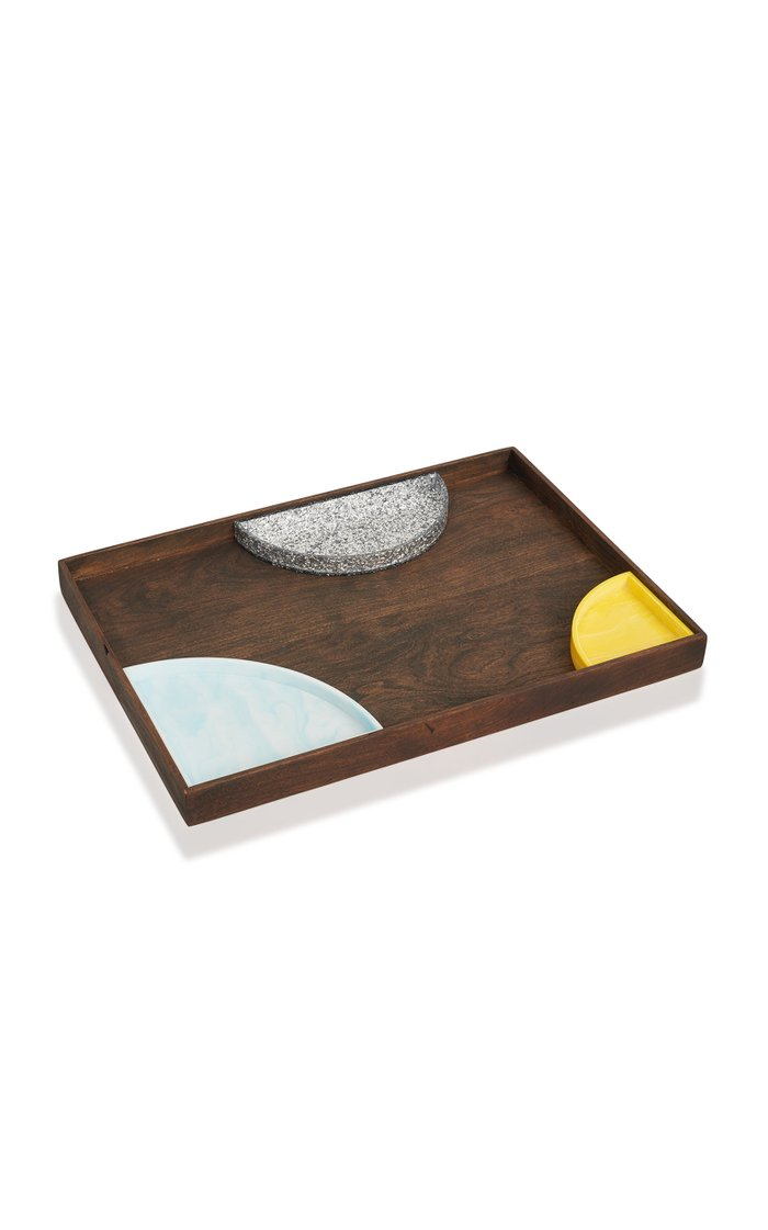 Large Wood And Acrylic Serving Tray