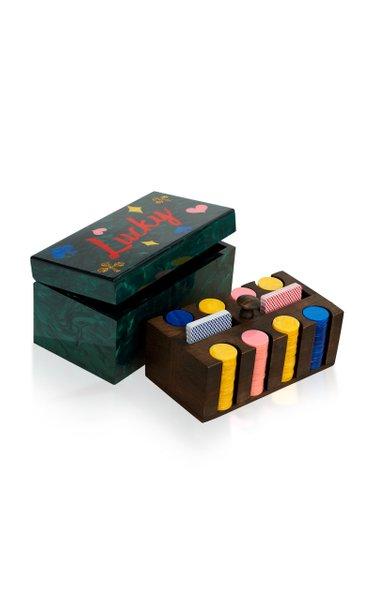 Acrylic And Wood Poker Set
