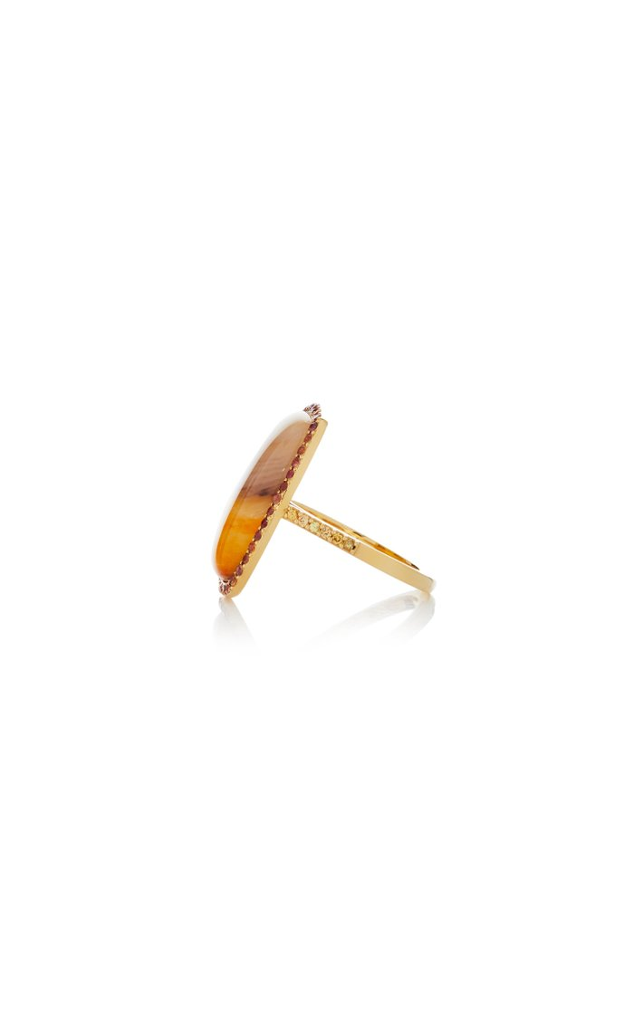 18K Gold Agate Ring