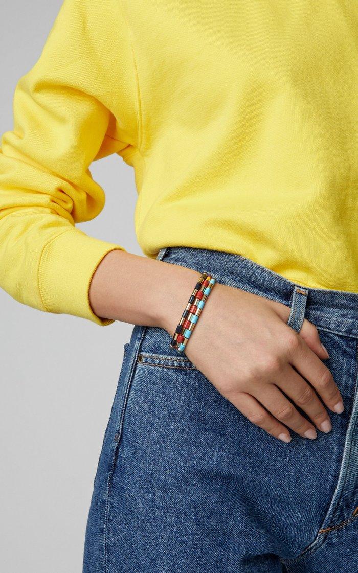 Set-Of-Three Gilded Tube Bracelets