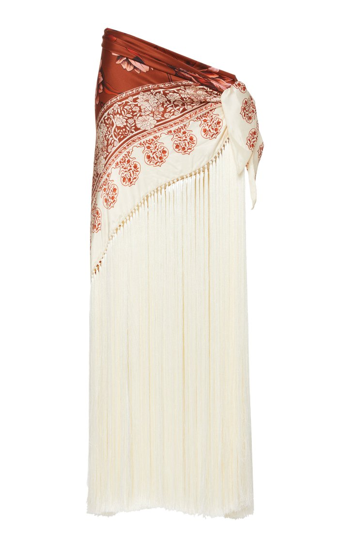 Light My Fire Fringed Printed Silk-Satin Pareo