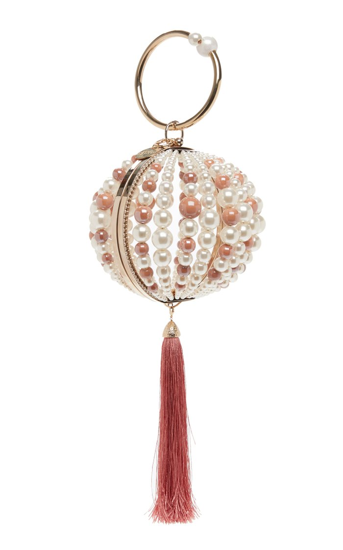 Tasseled Pearl Satin Bag with Gold-Tone Brass