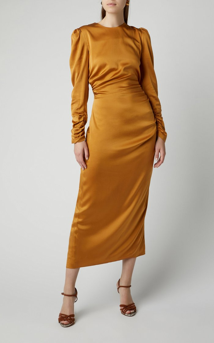 Exclusive Ruched Silk Midi Dress