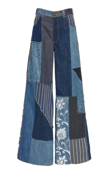 Patchwork-Effect High-Rise Wide-Leg Jeans
