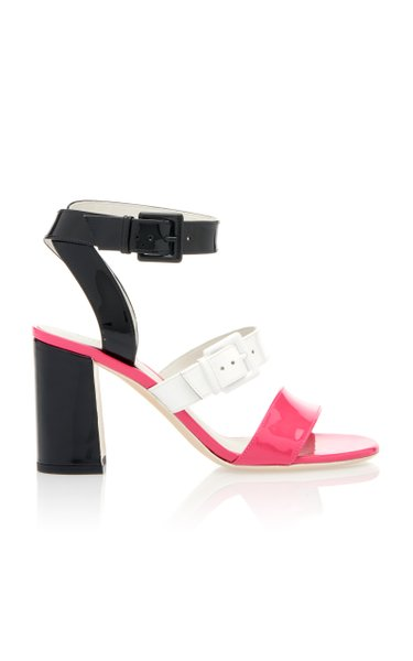 Double Buckle Color-Blocked Patent Leather Sandals