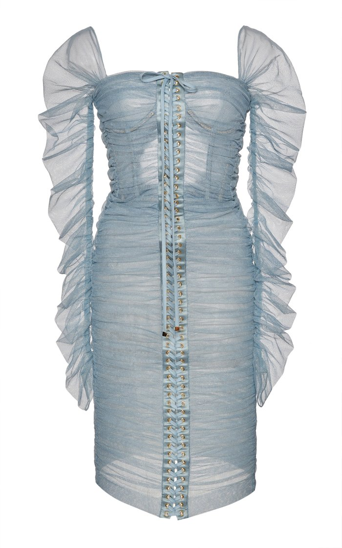 Lace-Up Tulle Dress