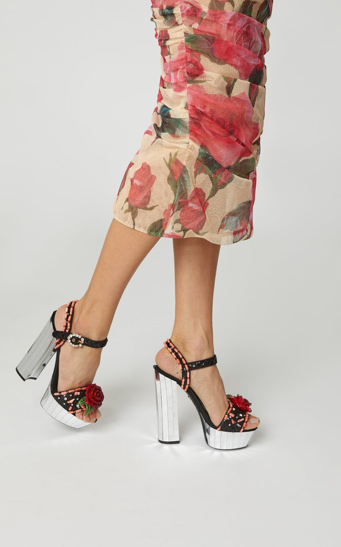 Floral Embellished Canvas Platform Sandals