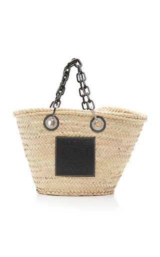 Leather-Trimmed Woven Raffia Tote