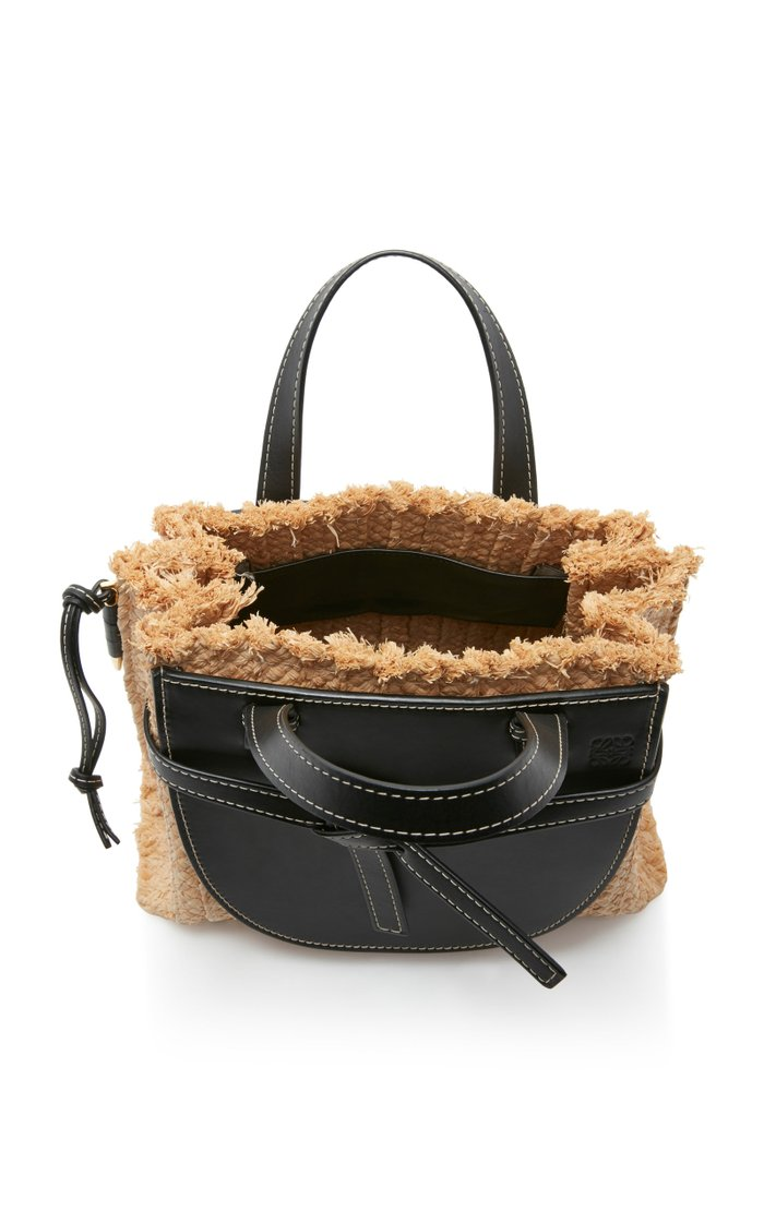 Gate Small Raffia and Leather Tote