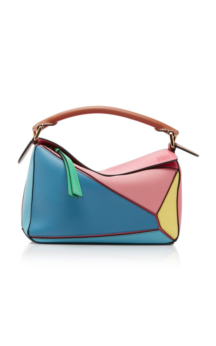 Puzzle Small Color Block Leather Bag