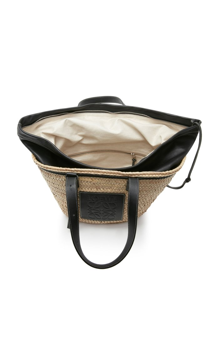 Leather-Paneled Straw Tote