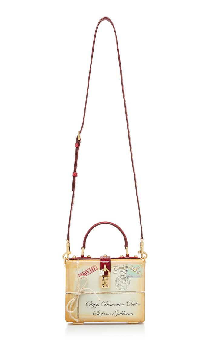 Leather Letter Top-Handle Bag with Snakeskin Trim
