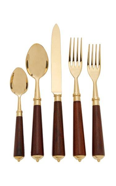 Julia Gold-Plated Rosewood Flatware Set