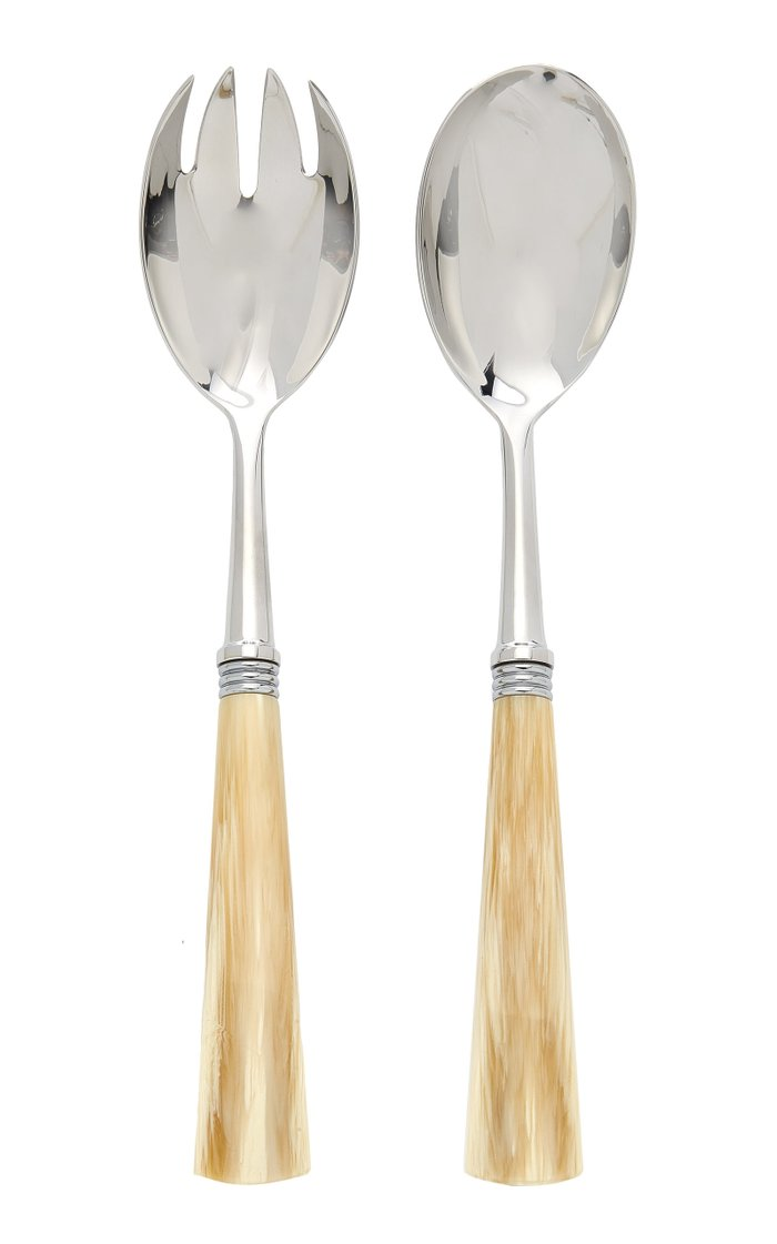 Tonia Stainless Steel and Horn Salad Set