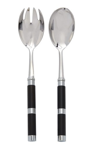 Carla Riviera Stainless Steel and Ebony Salad Set