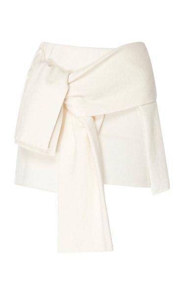 Paradiso Tie-Detail Wool-Blend Skirt